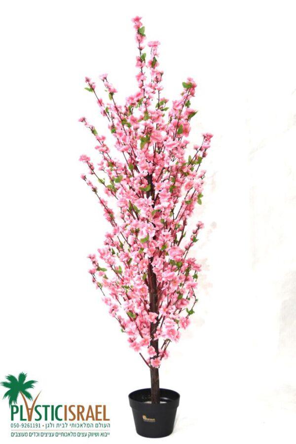 """עץ שקדיה מלאכותי ורוד גובה 150 ס""""מ"""